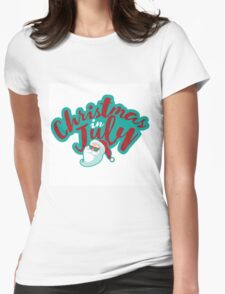 Christmas in July typography with cartoon Santa  Womens Fitted T-Shirt
