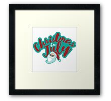 Christmas in July typography with cartoon Santa  Framed Print