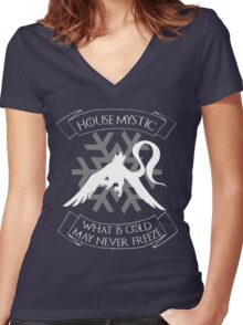 House Mystic (white) Women's Fitted V-Neck T-Shirt