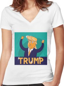 cartoon of USA Republican presidential candidate Donald Trump Women's Fitted V-Neck T-Shirt