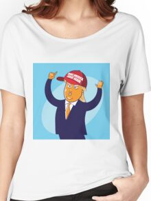 cartoon of USA Republican presidential candidate Donald Trump Women's Relaxed Fit T-Shirt