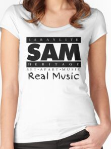 SAM REAL MUSIC  BLACK Women's Fitted Scoop T-Shirt