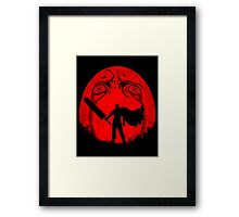 Black Swordsman Under a Red Moon Framed Print