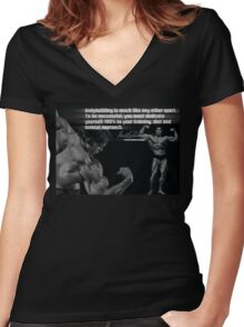 Bodybuilding Is Much Like Any Other Sport Women's Fitted V-Neck T-Shirt