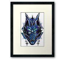 Trippy wolf brutal drawing art Framed Print