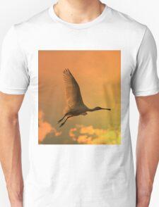 Spoonbill Stork - Sunset Flight of Color - African Wild Birds Unisex T-Shirt