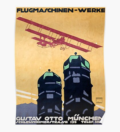 German Airplane Factory Advertisement Poster