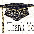 Blue & Gold Floral Cap Thank You Card by treasured-gift