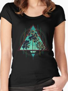 Vintage Geometric Calif Summer Palm Beach Women's Fitted Scoop T-Shirt