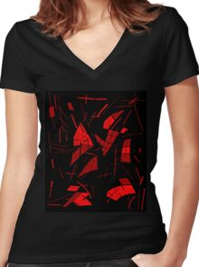 Black and red abstraction Women's Fitted V-Neck T-Shirt