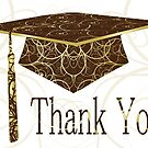 Brown & Gold Floral Cap Thank You Card by treasured-gift