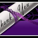 Purple & White Diploma Thank You Card by treasured-gift