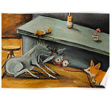 Donkey~Pemroke Welsh Corgi~Dog Drags Jackass out of Bar~Beer Poster