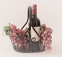Basket of Wine and Fruit by Sherry Hallemeier