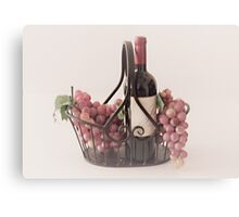 Basket of Wine and Fruit Canvas Print