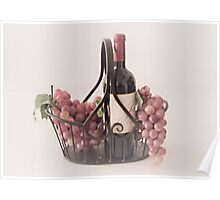 Basket of Wine and Fruit Poster