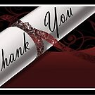 Maroon & White Diploma Thank You Card by treasured-gift
