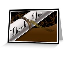 Brown & White Diploma Thank You Card Greeting Card