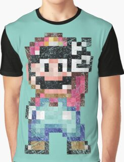 Mario World Vintage Pixels Victory Graphic T-Shirt