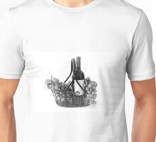 Basket of Wine and Grapes in Black and White Unisex T-Shirt