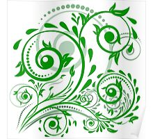 Green leaves with abstract swirls Poster