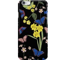 Floral botanical print with butterflies and wild flowers iPhone Case/Skin