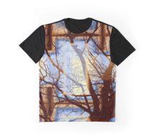 Harmonious Colors - Blue White Brown Graphic T-Shirt