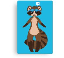 Swimming Racoon Chibi Canvas Print