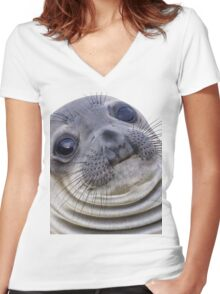 The Awkward Seal Women's Fitted V-Neck T-Shirt