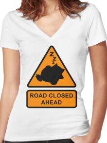 Road Closed Ahead Women's Fitted V-Neck T-Shirt