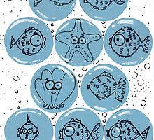 Cute Sea Animals and Funny Fish Floating in Bubbles by Nalinne Jones
