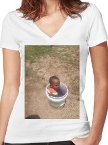 Black kid on a bucket eating watermelon Women's Fitted V-Neck T-Shirt
