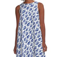 Fun Blue Leaves Pattern A-Line Dress