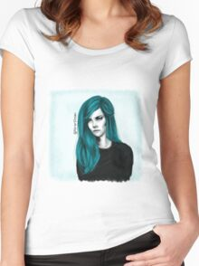 Turquoise hair color Women's Fitted Scoop T-Shirt