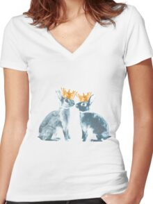 Britannia Elite - Blue   Britannia Petite Show Rabbit Bunny Fancy Rare Cute Royalty Crown King Queen Women's Fitted V-Neck T-Shirt