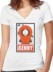 (CARTOON) Kenny Women's Fitted V-Neck T-Shirt