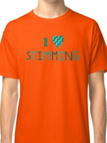 I Love Stimming (Green and Cyan, Wavy Letters) Classic T-Shirt