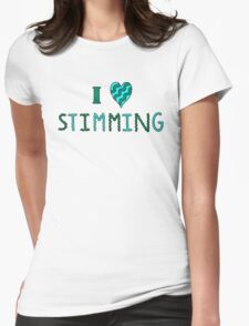 I Love Stimming (Green and Cyan, Wavy Letters) Womens Fitted T-Shirt
