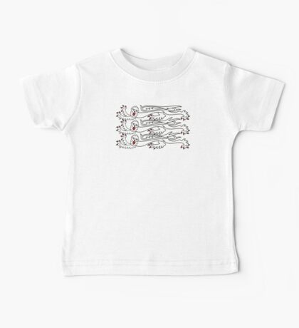 Three Lions, 3 LIONS, Royal Banner of England, UK, Britain, British, Knights, on ROYAL BLUE Baby Tee