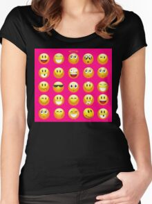 neon pink emoji Women's Fitted Scoop T-Shirt
