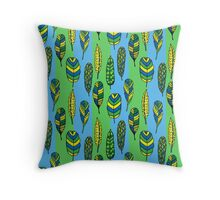 Seamless pattern of hand drawn colored tribal feathers Throw Pillow