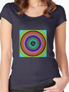 rainbow triangle spiral mandala-dots painting Women's Fitted Scoop T-Shirt