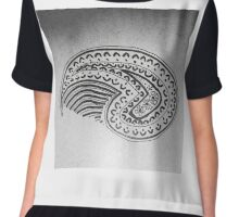 Paisley Art Drawing bw Chiffon Top