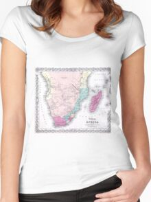 Vintage Map of Southern Africa (1855) Women's Fitted Scoop T-Shirt