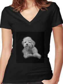 Dog - Black and White Women's Fitted V-Neck T-Shirt