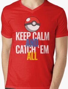 Keep Calm And Catch 'Em All  Mens V-Neck T-Shirt