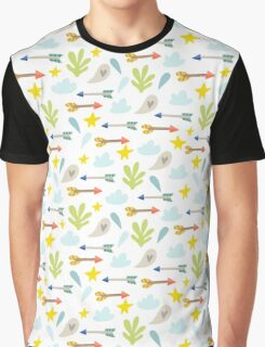 Whimsical Arrows, Hearts, Clouds, Leaves Pattern Graphic T-Shirt