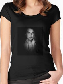 Woman in Shadow - Black and White Women's Fitted Scoop T-Shirt
