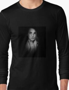 Woman in Shadow - Black and White Long Sleeve T-Shirt