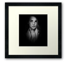 Woman in Shadow - Black and White Framed Print
